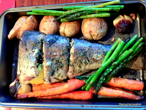 Pan Fried Butter Trout with Roasted Veggies