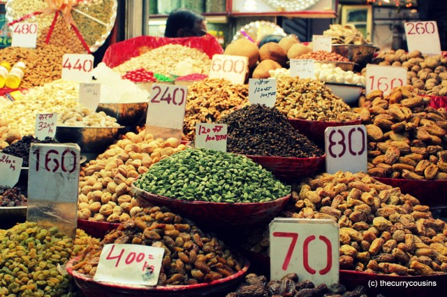 Spices and Dry Fruits in the markets of Khari Baoli, Delhi