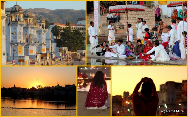 Peace & Bliss as gentle breeze touches upon the waters of the holy Lake Pushkar, devotees throng to worship the setting sun and Holy Waters of the lake...reflections of lights from temples which ring the lake banks and where bells are rung in a hypnotic rythm, hymns invoking the gods...If this is not bliss, then what is!