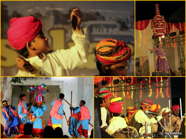 Lilting tunes of folk musicians and dancers, classical renditions of music and traditional forms of theatre/story telling are organised in a typical village carnival style of open-air platforms around which people gather to enjoy programs that continue till well past midnight...