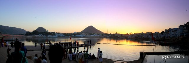 The Holy Pushkar Lake, at sunset, by the banks of which stand numerous temples & Snaan Ghats(Bathing Steps)