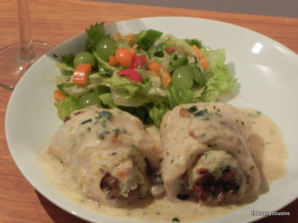 Fish Rolls stuffed with Mushrooms in a White Wine Sauce
