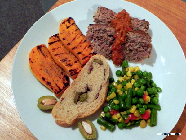 Lamb Meat Loaf with Homemade Olive Bread and Grilled Veggies