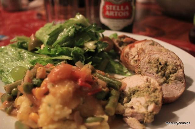 Chicken Involtini (with basil) and Polenta with Tomato Veggies
