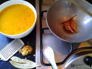 tempering the moong dal