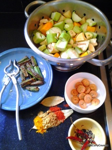 the cubed veggies,spices,fried bori and okra