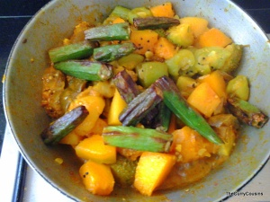 add the fried okra once the rest of the vegetables are cooked